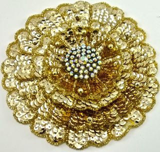 Flower with Three Layered Gold Sequins, Beads and AB Rhinestones 5.5""