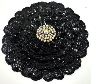 Flower Three Layered with Black Sequins Beads and AB Rhinestones  5.5""