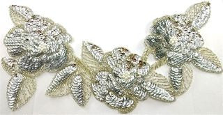 "Flower Neckline with Silver Sequins and Beads 12"" x 6"""