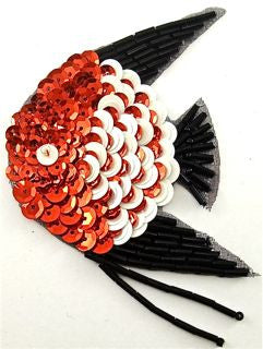 "Fish with Red White Black Sequins 5"" x 2.5"""