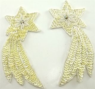 "Shooting Star Pair with Cream Sequins and AB Rhinestone 5.5"" x 3"""