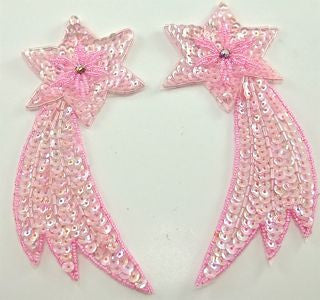 "Shooting Star Pair with Pink Sequins and Beads 5"" x 2.5"""