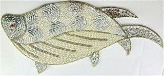 "Fish with Silver and White Sequins and Beads 11"" x 7"""