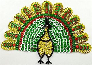 "Peacock with Multi Colored Sequins 6.5"" x 5"""