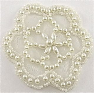"Flower with White Pearls 3"" x 3"""