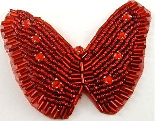 "Butterfly with Red Beads and Red Rhinestones 3"" x 2.5"""