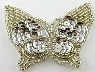 "Butterfly with Silver Sequins and Beads 2"" x 2"""