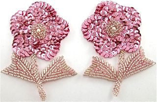 "Flower Pair with Pink Sequins and Beads 4"" x 3"""