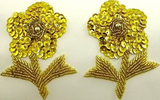 "Flower Pair with Gold Sequins and Beads 4"" x 3"""