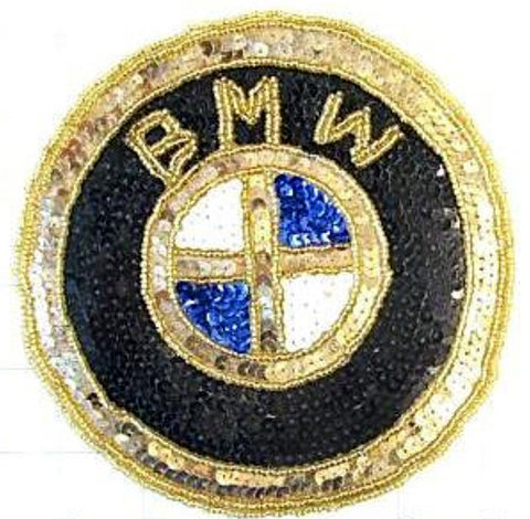 BMW Emblem,  Gold, Black, White and Blue Sequin Beaded 6""
