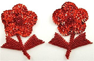 "Flower Pair with Red Sequins and Beads 4"" x 3"""