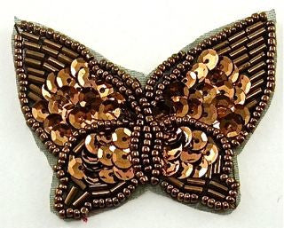 "Butterfly Bronze Sequins and Beads 2.5"" x 2"""