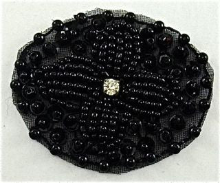 "Designer Motif  with Black Sequins and Beads and Rhinestone 2"" x 1.5"""