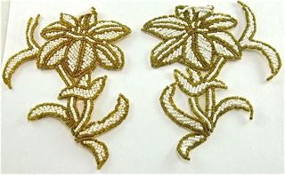 "Flower Pair with Gold and White Beads 4"" x 5.5"""
