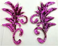 "Load image into Gallery viewer, Design Motif Pair with Fuchsia Sequins 7.5"" x 4"""