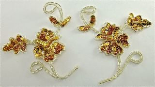 "Flower Pair with Gold Sequins and Silver Beads 4"" x 5"""