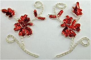 Flower Pair with Red Sequins and Silver Beads 4.5""