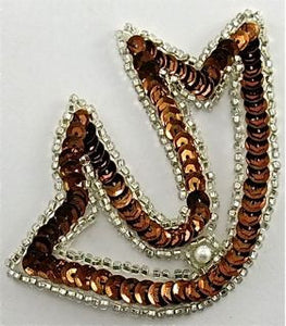 "Design Motif with Bronze Sequins and Silver Beads 3.5"" x 3"""