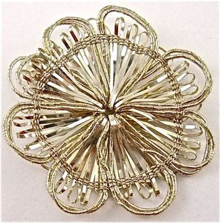 TEN PACK Flower Silver and gold tones India Bullion Thread 1.7/8""