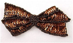 "Bow with Bronze Sequins and Beads 2"" x 4"""