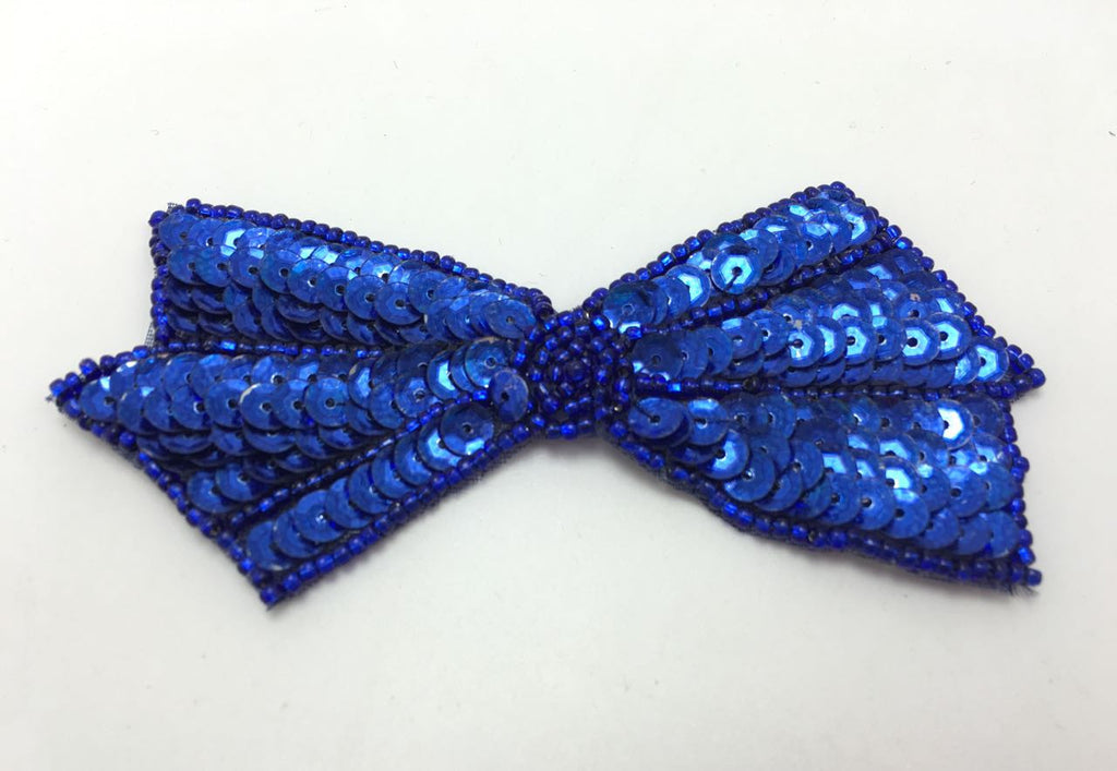 "Bow with Royal Blue Sequins and Beads 2"" x 4"""