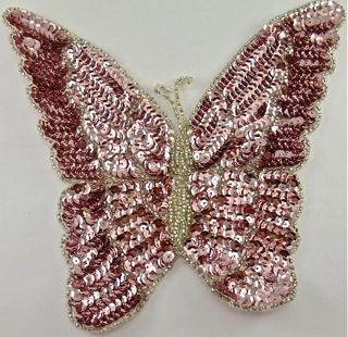 "Butterfly with Pink Sequins and Silver Beads 8"" x 7"""