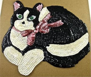 "Cat with Black, White and Pink Sequins and Beads 10"" x 7.5"""