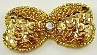 "Bow Gold with Rhinestone Center 1"" x 2"""