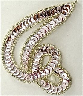 "Designer Motif Swirl with Very Lite Pink Sequins and Silver Beads 3.5"" x 3"""