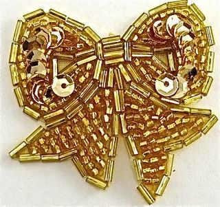 "Bow with Gold Beads and Sequins 2"" x 2"""