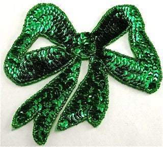 "Bow Emerald Green Sequin 4.5"" x 4"""
