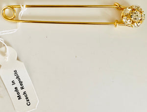 Designer Gold  High-Quality Large Safety PIn  with Decorative Rhinestones 3""