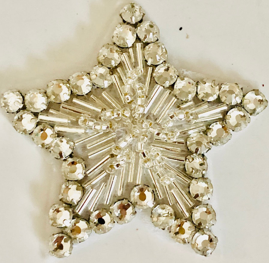 Star With High Quality Rhinestone and Beads 2.5