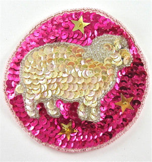 Zodiac Symbol Aires the Ram, Sequin Beaded  3.5""