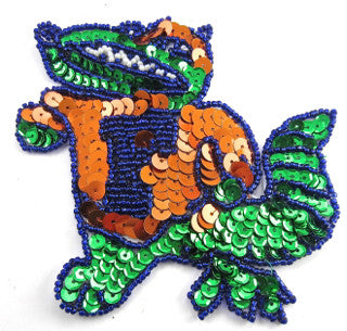 "Alligator with Letter F on Shirt 4"" x 4.25"" - Sequinappliques.com"
