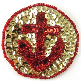 Anchor Patch with Red and Gold Sequins 2.5""