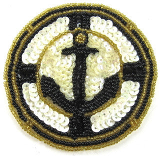 "Anchor Patch with Back and White Sequins 3.5"" - Sequinappliques.com"
