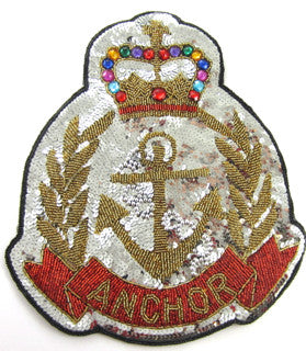 "Anchor Patch with Silver Gold Red Sequins and Beads 11"" x 9"" - Sequinappliques.com"