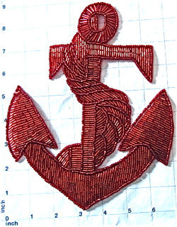 "Anchor Red Beaded Large 9"" x 7"" - Sequinappliques.com"