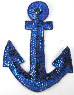 "Anchor Royal Blue Sequins and Beads Large 7.5"" x 5.5"" - Sequinappliques.com"