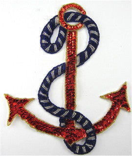 "Anchor with Royal Blue and Silver Rope and Red Sequins 10"" x 7.5"" - Sequinappliques.com"