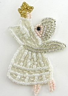 "Angel for Christmas  Holding Star 3"" x 2"" - Sequinappliques.com"