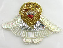 "Load image into Gallery viewer, Angel with China White Spotlite, Gold Silver Sequins and Beads  2"" x 3"" - Sequinappliques.com"