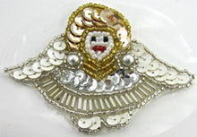 "Load image into Gallery viewer, Angel with White Gold Silver Sequins and Beads, Pre-Glued 2.25"" x 3"" - Sequinappliques.com"
