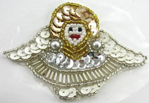 "Angel with White Gold Silver Sequins and Beads, Pre-Glued 2.25"" x 3"" - Sequinappliques.com"