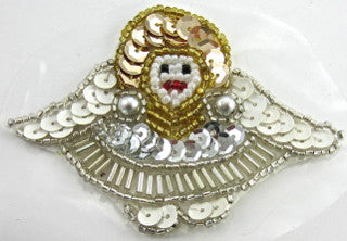 Angel with White Gold Silver Sequins and Beads, Pre-Glued 2.25