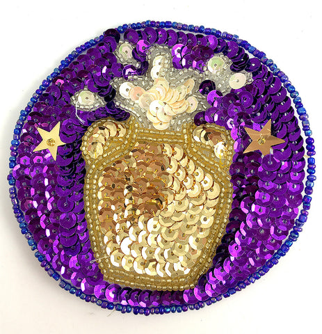 Zodiac Symbol Aquarius the Water Bearer, Sequin Beaded  3.5""