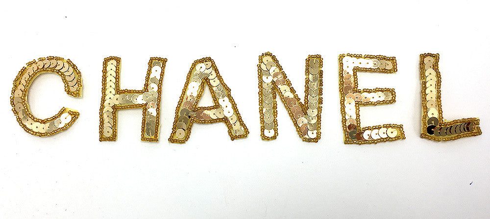 """Chanel"" unattached gold sequin beaded letters  2"" each letter - Sequinappliques.com"