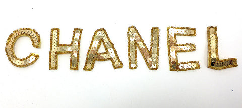 "Chanel unattached gold sequin beaded letters  2"" each letter"