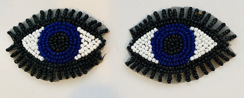 "Eye Pair with Back/Blue/White/Royal Beads 3"" x 2"""